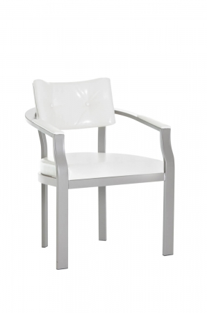Amisco's Jonas Metal Upholstered Dining Chair with Button-Tufting and Arms