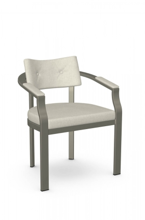 Amisco's Jonas Modern Arm Chair in Taupe Gray and Curved Back