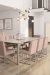 Amisco's Darcy Upholstered Dining Chairs in Pink in Modern Dining Room