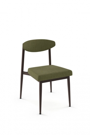 Amisco's Wilbur Scandinavian Dining Chair with Bean-Shaped Backrest, Chair is shown in green fabric