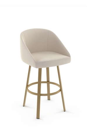 Amisco's Wembley Upholstered Modern Swivel Gold Metal Stool with Tan Fabric and No Arms