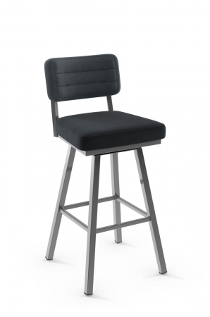 Amisco's Phoebe Upholstered Urban Swivel Barstool with Metal Frame and Back