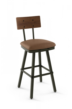 Amisco's Jetson Swivel Bar Stool with Wood Back, Square Seat Cushion, and Metal Frame