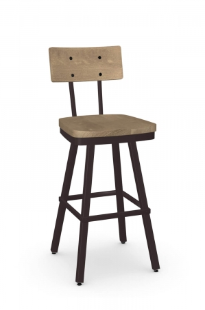 Amisco's Jetson Industrial Swivel Bar Stool in Brown with Wood Back and Seat