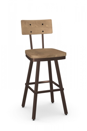 Amisco's Jetson Industrial Swivel Bar Stool in Bronze with Wood Back and Seat