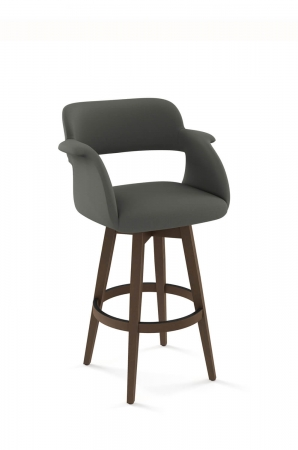 Amisco's Joshua Modern Upholstered Swivel Barstool with Wood Base, Padded Back and Seat, with Partial Arms