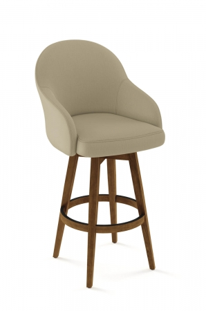 Amisco's Collin Swivel Upholstered Wood Bar Stool with Partial Arms - For Farmhouse Kitchens