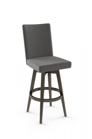 Amisco's Noah Upholstered Swivel Barstool with Brown Wood Base and Gray Upholstery