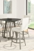 Amisco's Edward Upholstered Swivel Bar Stools with Arms in Dining Room with Pub Table