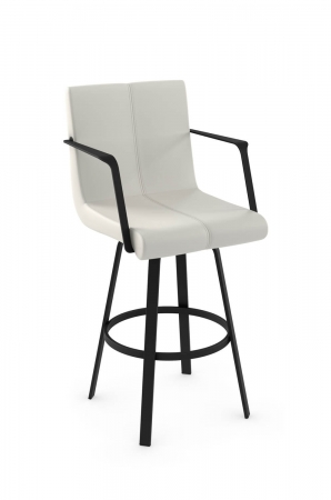 Amisco's Edward Upholstered Swivel Bar Stool with Metal Arms and Base
