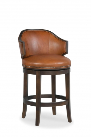 Fairfield's Gimlet Wood Upholstered Swivel Counter Stool with Partial Arms and Round Seat
