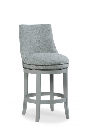 Fairfield's Vesper Upholstered Swivel Barstool with Nailhead Trim in Gray