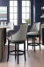 Fairfield's Robroy Upholstered Wood Swivel Counter Stool in Charcoal Wood Finish and In Modern Blue Bar Room