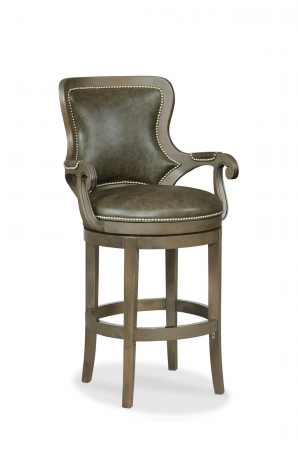 Fairfield's Spritzer Upholstered Swivel Bar Stool with Nailhead Trim and Arms