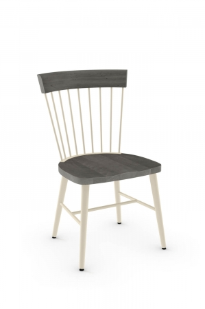 Amisco's Angelina Farmhouse Dining Chair with Spindle-Back, Wood Seat, and Metal Frame in Vanilla