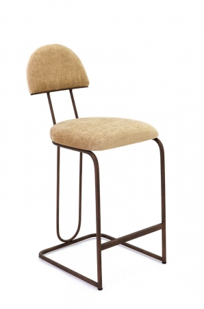 Wesley Allen's Bronx Modern Upholstered Barstool with Curved Back and Sled Style Metal Base