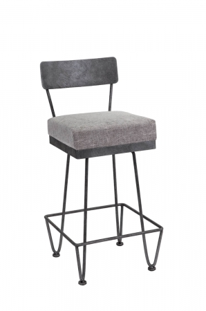 Wesley Allen's Clark Modern Metal Barstool with Thick, Square Seat Cushion and Unique Base