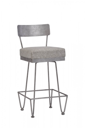 Wesley Allen's Clark Modern Bar Stool with Back in Gray