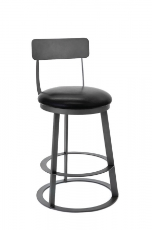 Wesley Allen's Clay Swivel Barstool with Back, Round Seat, and Round Base
