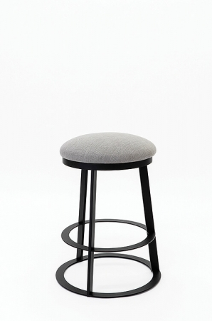 Wesley Allen's Clay Backless Swivel Barstool with Round Metal Back and Round Upholstered Seat