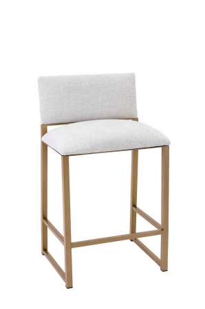 Wesley Allen's Franklin Stationary Upholstered Barstool with Gold Metal Sled Base and White Seat and Back Cushion