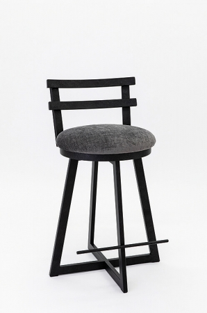 Wesley Allen's Harrison Modern Swivel Barstool with Back, Metal Base, and Seat Cushion