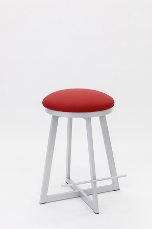 Wesley Allen's Harrison Backless Swivel Barstool with Round Seat Cushion and X-Style Base