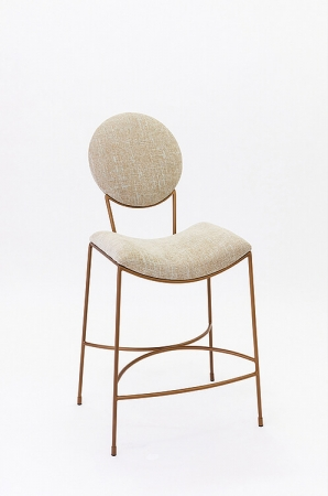 Wesley Allen's Jamestown Upholstered Barstool with Scooped Seat and Round Backrest