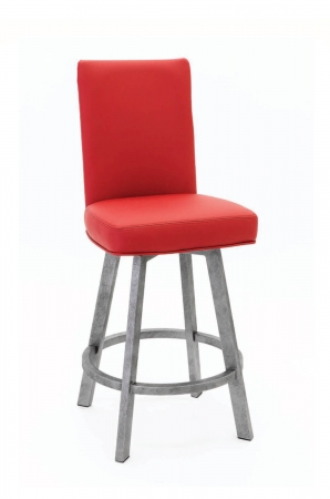 Wesley Allen's Jackson Upholstered Swivel Barstool with Tall Back and Metal Base