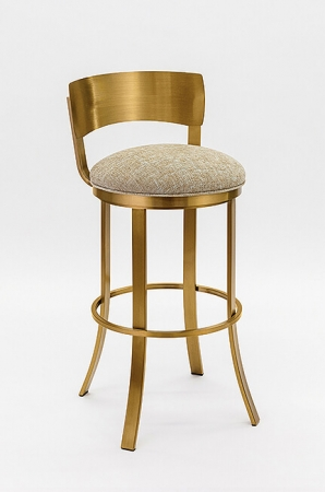 Wesley Allen's Baltimore Swivel Barstool in Gold Stainless Metal Finish