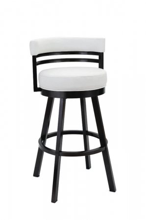 Wesley Allen's Miramar Swivel Barstool with Low Back in Black Stainless Steel Metal Finish and White Upholstery
