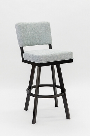 Wesley Allen's Miami Swivel Barstool in Black Stainless Steel Metal Finish