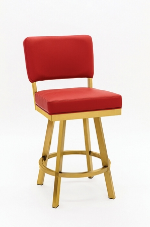 Wesley Allen's Miami Swivel Barstool in Gold Stainless Steel Metal Finish