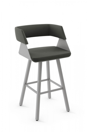 Amisco's Stacy Swivel Modern Metal Upholstered Barstool with Curved Backrest