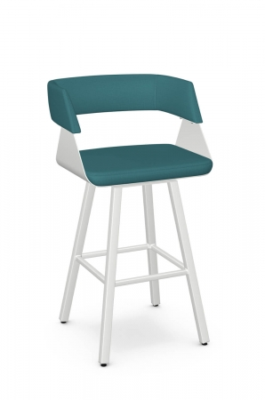 Amisco's Stacy Modern Swivel White Bar Stool with Turquoise Seat and Back Cushion