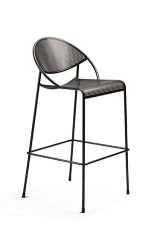 Grand Rapids Hula Outdoor Barstool with Back in Black and 4 Legs with Footrest