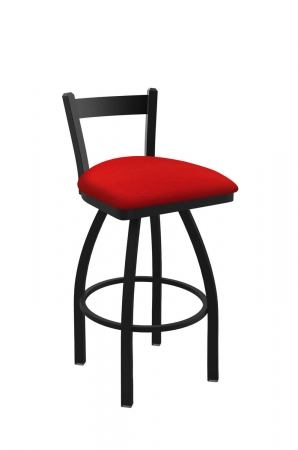 Holland's Catalina #821 Low Back Swivel Barstool in Black Metal Finish and Red Seat Cushion