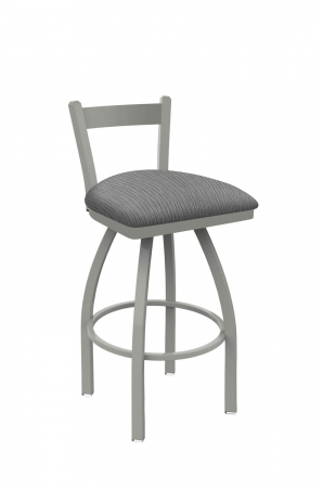 Holland's Catalina #821 Low Back Swivel Barstool in Nickel Metal Finish and Gray Seat Cushion