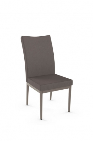 Amisco's Mitchell Upholstered Dining Chair with Tall Back and Straight Metal Legs
