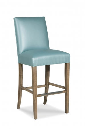 Fairfield's Clark Wooden Bar Stool with Upholstered Back and Seat in Seafoam Green