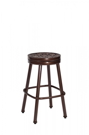 Woodard's Casa Backless Swivel Bar Stool in Aluminum Brown Finish with Round Seat