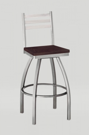 Grand Rapid's Ladder Back Swivel Barstool in Silver Metal Finish and Dark Brown Wood Seat