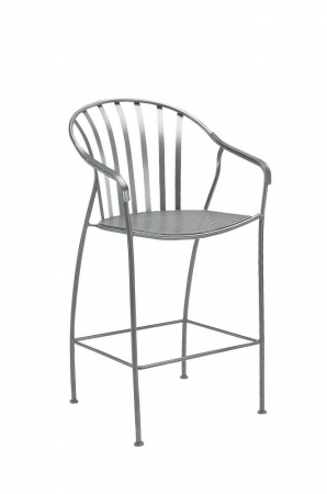 Woodard's Valencia Stationary Barstool with Arms in Iron with Curved Slat Back and Four Legs