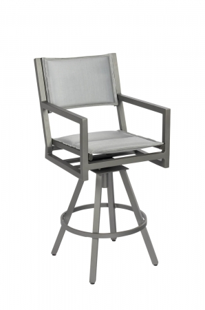Woodard's Palm Coast Outdoor Modern Padded Sling Barstool with Arms