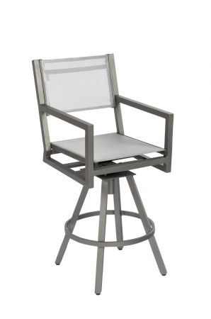 Woodard's Palm Coast Outdoor Modern Sling Barstool with Arms