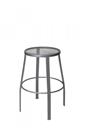 Woodard's Outdoor Backless Iron Swivel Barstool with Round Mesh Seat
