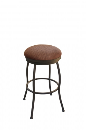Callee's Bristol Outdoor Backless Swivel Bar Stool with Round Seat in Sun Bronze Metal and Oak Seat Cushion