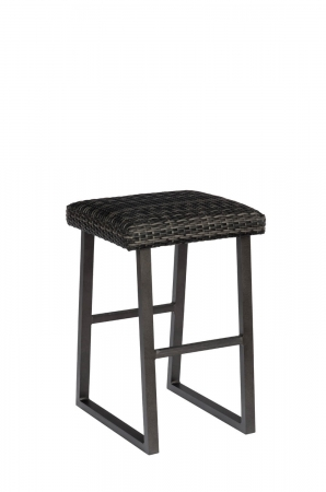 Woodard's Canaveral Harper Outdoor Stationary Woven Backless Bar Stool and Sled Base in Charcoal