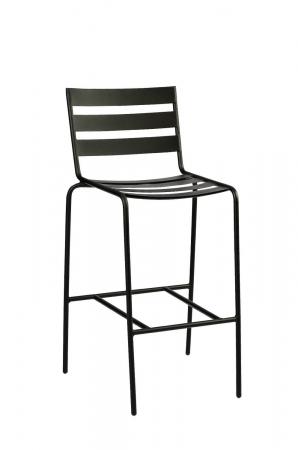 Woodard's Café Series Metro Textured Black Stationary Bar Stool with Ladder Back Design