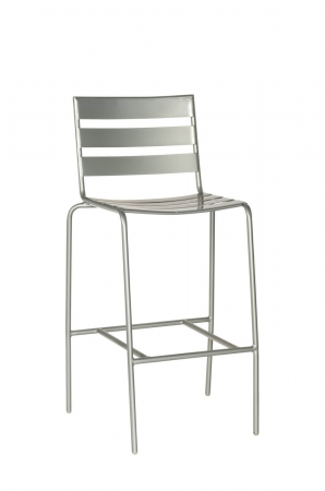 Woodard's Cafe Series Metro Mercury Silver Outdoor Bar Stool with Back